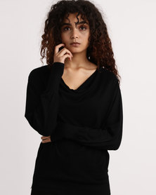My Style Cowl Neck Knitwear Jumper Black