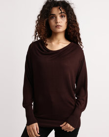 My Style Cowl Neck Knitwear Jumper Chocolate