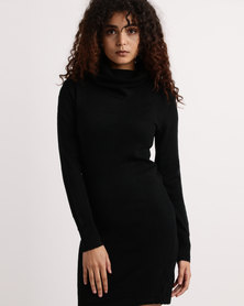 My Style Cowl Neck Knitwear Dress Black