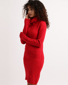 My Style Cowl Neck Knitwear Dress Red