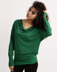 My Style Cowl Neck Knitwear Jumper Bright Green