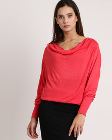 My Style Cowl Neck Knitwear Jumper Coral