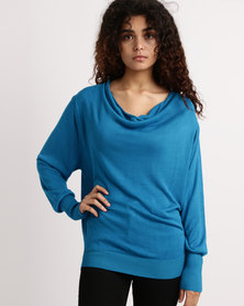 My Style Cowl Neck Knitwear Jumper Turquoise