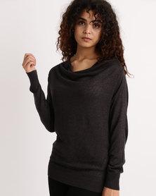 My Style Cowl Neck Knitwear Jumper Grey