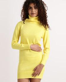 My Style Cowl Neck Knitwear Dress Light Yellow