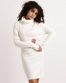 My Style Cowl Neck Knitwear Dress Cream