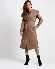Utopia Melton Shawl Collar Coat Dark Khaki