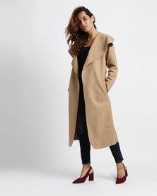 Utopia Melton Shawl Collar Coat Beige