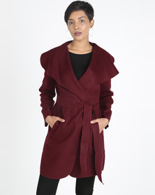 Utopia Melton Shawl Collar Coat Burgundy