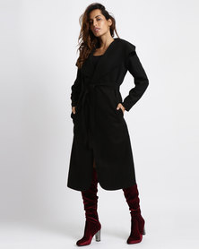 Utopia Melton Shawl Collar Coat Black