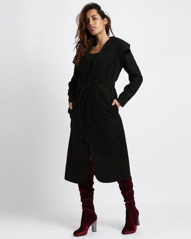 Utopia Melton Shawl Collar Coat Black