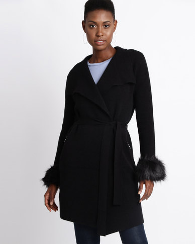 Sissy Boy Knitwear With Faux Fur Cuffs Coat Black