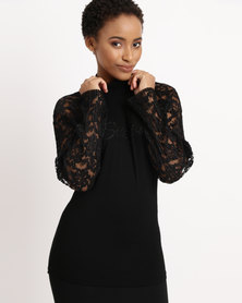 Sissy Boy Polo Neck With Lace Top Black