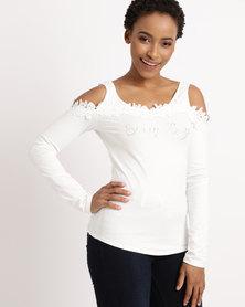 Sissy Boy Crochet Cold Shoulder Top White