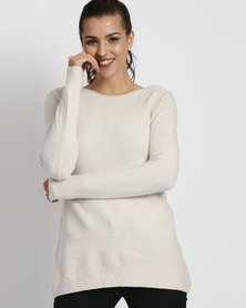 G Couture Multi Stitch Design Jumper Stone Melange