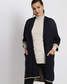 G Couture Oversized Cardigan Navy/Stone