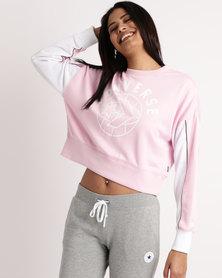 Converse Street Sport Cropped Crew Sweatshirt Pink