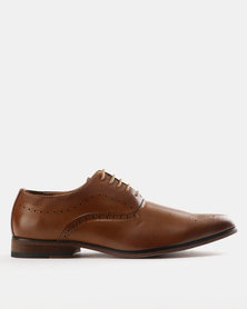Utopia Formal Lasered Lace Up Shoes Tan