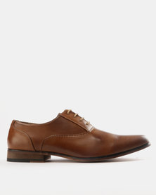 Utopia Lasered Toe Cap Lace Up Shoes Tan