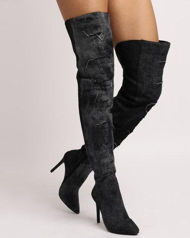 1c2021944137 Utopia Denim OTK Boots Black | Zando