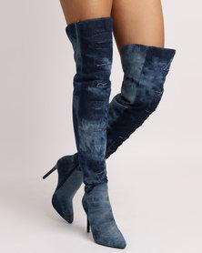 Utopia Denim OTK Boots Blue