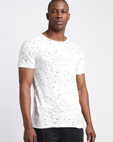 Beaver Canoe Swagga T-Shirt with Printed Ink Droplets White