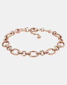 Fossil Circular Linked Braclet Rose Gold-plated