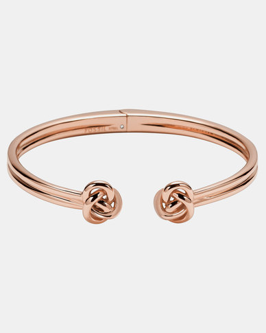 Fossil Open Ended Bangle Rose Gold-plated