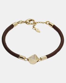 Fossil Lobster Clasp Leather Bracelet Brown
