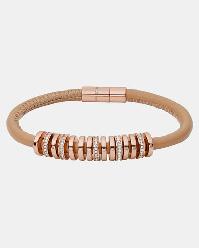 Fossil Charmed Leather Bracelet Rose Gold Plated Zando