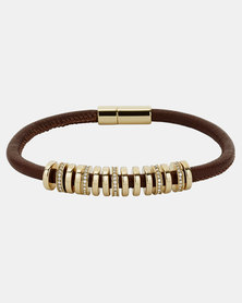 Fossil Charmed Leather Bracelet Brown