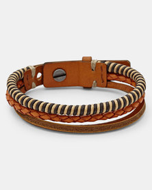 Fossil Casual Braided Leather Bracelet Tan