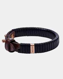 Fossil Casual Leather Bracelet Black