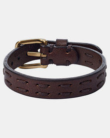 Fossil Double Stitched Leather Bracelet Brown