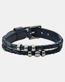 Fossil Double Braided Laether Bracelet Blue