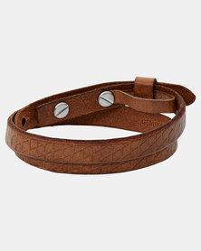 Fossil Wrap Around Leather Bracelet Tan
