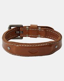 Fossil Chunky Buckle Leather Bracelet Tan