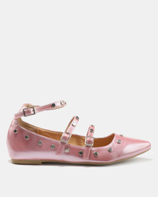 Legit Multi-Strap Pointy With Metal Studding Mauve