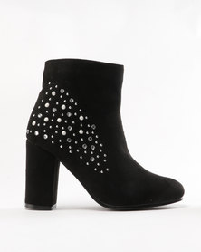 Legit Jewelled Ankle Boots Black
