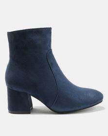 Legit Low Ankle Block Heel Boots Navy