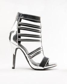 Legit Multi-strap Cage Platform Heel Sandal Silver