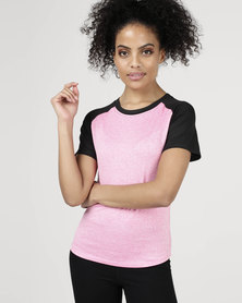 Utopia Two Tone Running Shirt Pink/Black