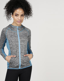 Utopia Running Jacket Grey Melange/Blue