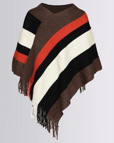 Blackcherry Bag Striped Poncho Multi