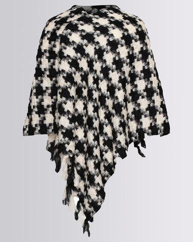 Blackcherry Bag Classic Houndstooth Poncho Black/White