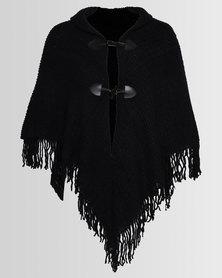 Blackcherry Bag Front-Tie Poncho Black