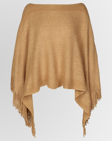 Blackcherry Bag Sequin Detailed Poncho Camel
