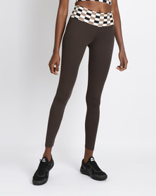 FIT Gymwear Block Skinny Leggings Brown