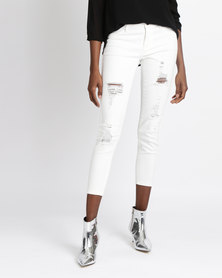 Soviet Kasa Rip & Repair Crop Jeans White