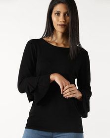 Queenspark Ruffle Sleeve Core Knitwear Top Black